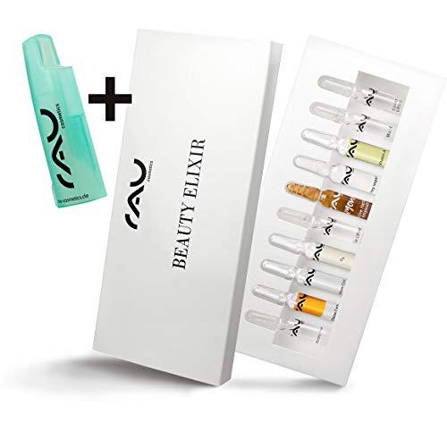 Ampullen Set - Anti Aging, Feuchtigkeit, Straffung, Detox - Gratis Ampullen Öffner - RAU Beauty Elixir (10 x 2ml)