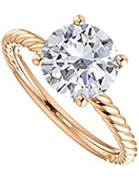 2.00 Carat CZ Fashion Designer Rope Ring 14K Rose Gold