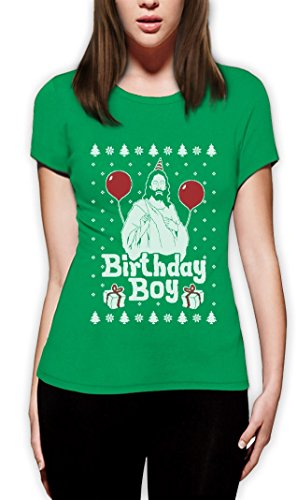 Jesus Christus Birthday Boy Witziges Weihnachten Design Frauen TShirt Grün