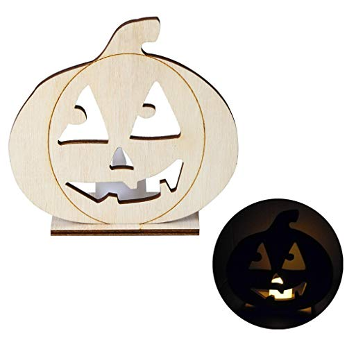 bloatboy  Halloween DIY Hohl Holz Kerzenlicht Vintage Halloween Party LED dekorative Lampe - Simulationskerze LED Kerzenlicht Nachtlicht (C) - Hohle Kerze