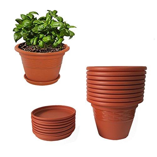 Meded Siti Plast 10 Inch Heavy Duty Plastic Planter Pots With Bottom...