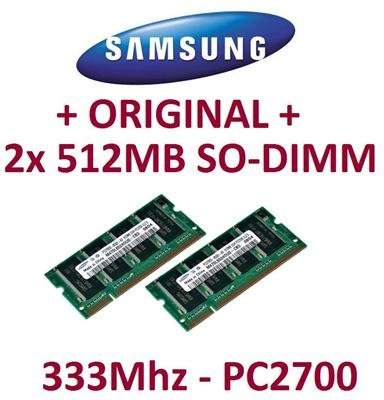 1GB Dual Channel Kit SAMSUNG original 2 x 512MB 200 pin DDR-333 (PC-2700, 333Mhz, CL2.5) SO-DIMM double side (M470L6524DU0-CB3) für NOTEBOOKs - 100% kompatibel zu DDR-266 (PC-2100, 266Mhz, CL2.5)