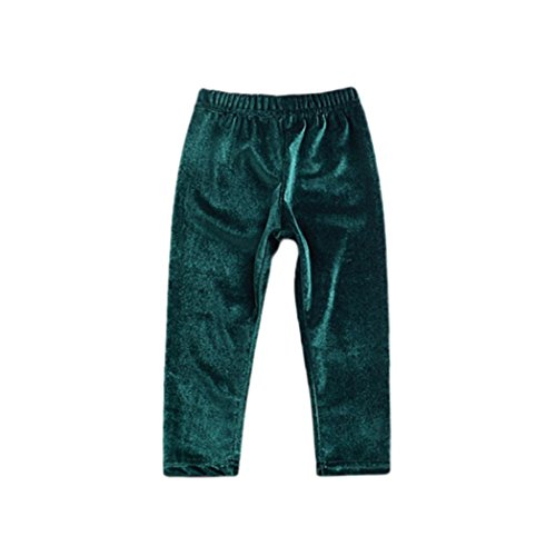 Grüne Velour Hose (Huhu833 Baby kleidung Neugeborene Kinder Hosen Baby Mädchen Jungen Solide Warme Velours Leggings Hosen (Grün, 24M-100CM))