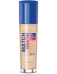 Rimmel London Match Perfection Liquid Foundation, Long-lasting Hydrating Formula with Smart-tone Technology and SPF 20 Formula, 101 Classic Ivory, 30 ml