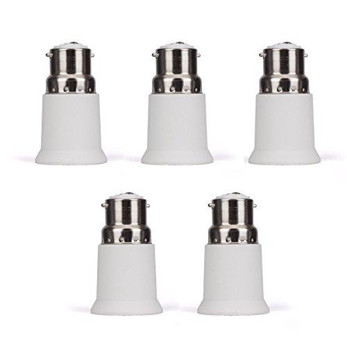 B22 E27 Adapter Lamp Light Base Converter 5 Pieces Light Bulb Base Adapters Bayonet Edison Base Change Test