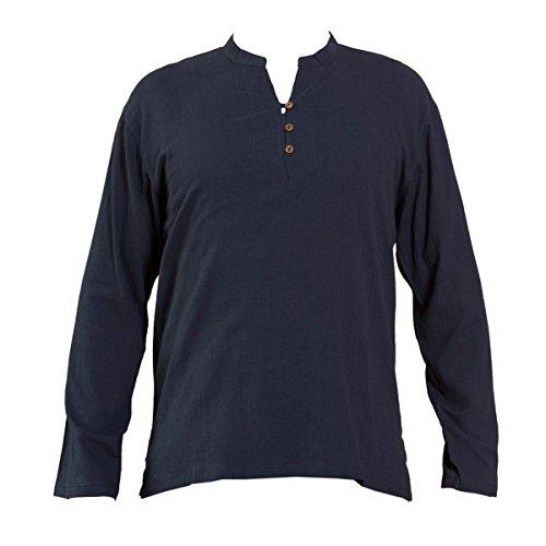 PANASIAM Sommer Hemden aus wohlig weicher, 100% reiner Naturbaumwolle Shirt 3button BLUE