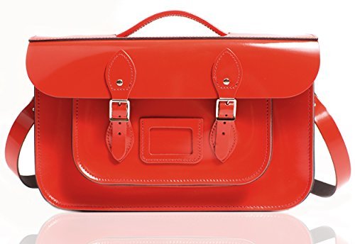 Oxbridge Satchel's, Borsa a secchiello donna Pattent Oxblood Rosy Red