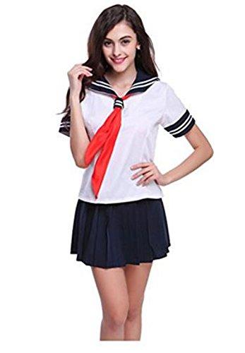 Evalent Japanische Anime-Kleidung Klassische Marine-Seemann-Klage Kurzes Hülsen-Mädchen Kursteilnehmer-Schule-Uniformen Weiß (Klassisches Kostüm Seemann)