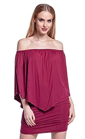 Glamour Empire Women's Stretch Layered Dress Bardot Neckline Ruffle Overlay. 293 (Crimson, UK 14/16,