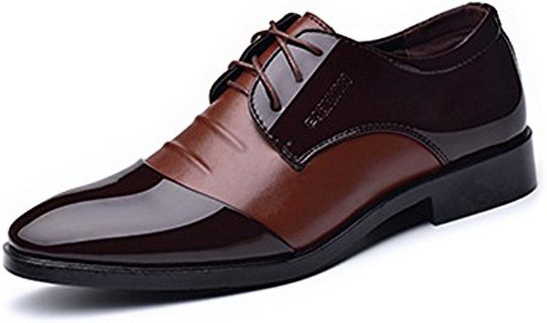 XHD-Scarpe Scarpe da Lavoro Formali da Uomo Fashion Brunito Liscia Liscia Liscia in Pelle PU Giuntura Stringata Superiore con... | Qualità E Quantità Garantita  037fd6