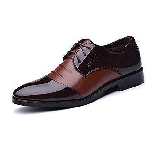Sunny&baby scarpe da lavoro formali da uomo smooth pu in pelle giubbotto con lacci in pizzo traspirante resistente all'abrasione ( color : brown , dimensione : 41 eu )