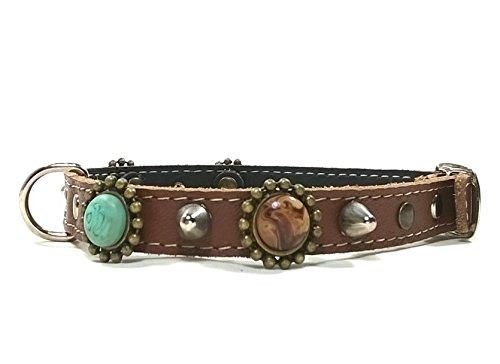 Leder Hunde-halsband Design Kleine Hunde und Chihuahuas - Halsband Braun Lederhalsband - Einzigartiger Bohemian Stil