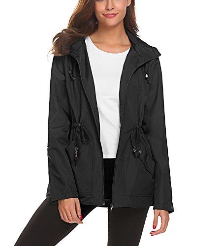 Chaqueta impermeable para mujer, abrigo plegable casual para lluvia, Chaqueta transpirable ligera confortable para chicas, abrigo de viaje para caminar.