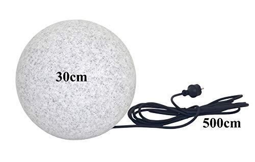 Trango IP65 Gartenkugel in Granit-Optik 30cm Ø TG300G incl.1x E27 Fassung & 5m Outdoorkabel I Kugelleuchte I Leuchtkugel I Außenlampe I Außenleuchte I Außenkugel