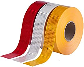 AREX 3m High Intensity Reflective ECE 104 Compliant Government Approved Tape 2 inch X 2 Ft White, red and yellow Pack of 3 Strips/rolls