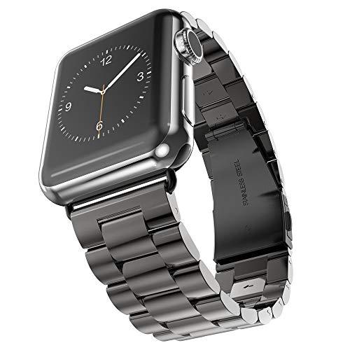 MroTech 38mm 40mm Watch Band Kompatibel für Apple Watch Metallarmband iWatch Armband Edelstahl Uhrenarmband Ersatzarmband für iWatch Serie 1/2 / 3/4 Sport Edition Nike+ -Schwarz 38/40 mm -