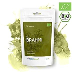Bio Brahmi Pulver | Extrakt aus 100% Bacopa Monnieri | Natürlicher Gedächtnis & Gehirn Booster | Ayurveda Superfood Pulver | Für Smoothie, Shake & Tee | 200g Bio Pulver | Vegan & Vegetarisch