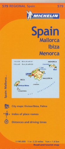 Michelin Spain: Balearic Islands Map 579: (mallorca, Ibiza, Menorca) (Maps/Regional (Michelin)) por Michelin