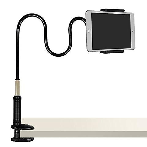 Tryone Support de voiture à col de cygne pour iPad/Tablette/iPhone/téléphone portable Base à pince avec boulon renforcé avec grip à ressort pour appareils 4-12