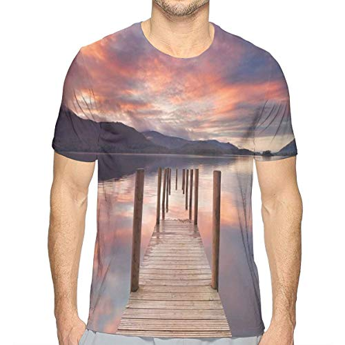 3D Printed T Shirts,A Flooded Jetty In Derwent Water Lake District England Sunset Morning Photo L