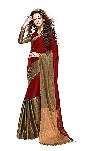 Sarees (Woman`s Clothing Saree For Woman Latest Desigen Wear Sarees Collection In Maroon-Color Bhagalpuri Silk Material Latest Sarees With Designer Blouuse Free Size Beautiful Bollywood Sarees For Wom