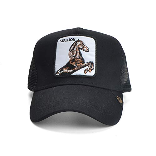 sdssup Tier große Huhn Stickerei net Kappe Wind atmungs LKW Kappe männer und Frauen Flut Ente Zunge Hut Pferd L (58-60 cm)