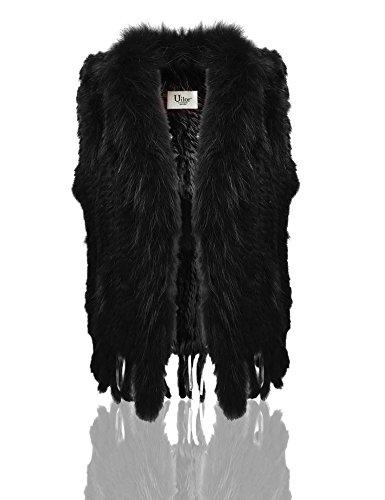 Uilor® Femmes 100% naturel Knit lapin fourrure Veste avec col de fourrure de rat Noir