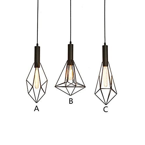 Suspensions Rétro créatif diamant fer pendentif lampes café-restaurant balcon couloir restaurant pendentif éclairage, C
