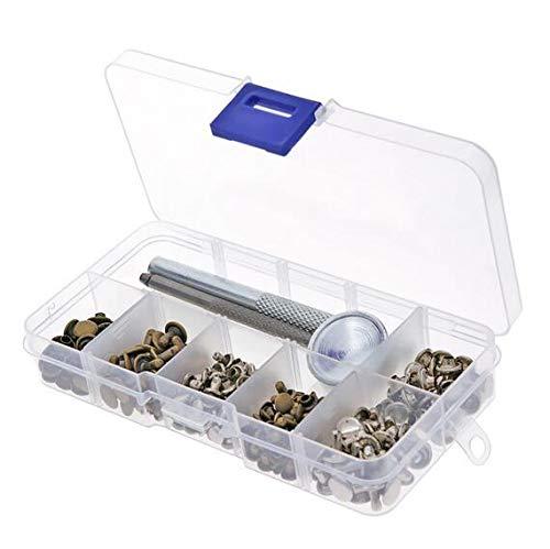 MEICHEN 120 Set Leder Reparaturnieten Röhren Metall Einzel Silber Bronze Nieten mit Fixing Tool Kit für Gürtel DIY Handwerk