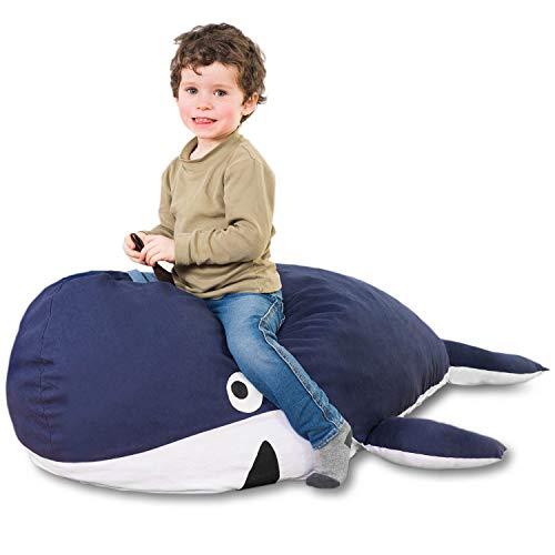 Kindersitzsack Wal - Tierform Sitzsack für Kinder - Kindermöbel Walfisch Stofftier aus Baumwolle