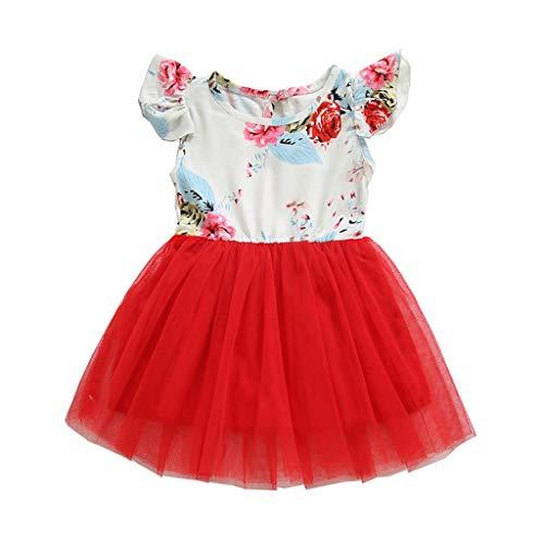 sunnymi  ® 0-4 Jahre Kleider Baby Mädchen Kurzarm Blumenspitze Prinzessin Bling Kostüme Party Tutu ()