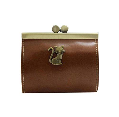 Geldbörsen, Rcool Damen Retro-Kupplung Hasp Schlüsselwechsel Geldbörse Münze Tasche Mini Handtasche (Braun) (Taschen Geldbörsen Prada)