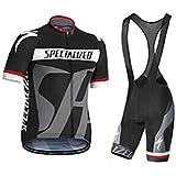 veinater hombre manga corta ciclismo Jersey y pantalones cortos en bicicleta babero Kit Negro/Gris, hombre, color negro, tamaño XXL