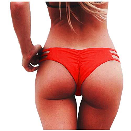 Dorical Damen Bikinihose Bikinislip Panty Bikini-Hose Seitlich Hohl/Frauen Badehose Tanga String Rüschen Brazilian Sexy Bikini Slip Schnüren Höschen Unterwäsche Schwimmhose (Medium, Z01-Rot)