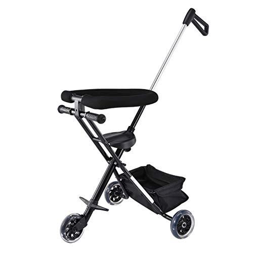 Twin Trittbrett (Multifunktionale Rutsch Baby Artefakt Kinder Dreirad Trolley Einfache Leichte Kinderwagen Schwarz)