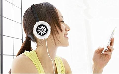 Luniquz femmes filles chaud en peluche cache-oreilles Musique casque audio cache-oreilles pour iPhone Samsung et autres téléphones portables et lecteurs avec prise audio 3,5 mm noir