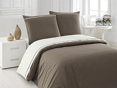 3 tlg. Renforcé Bettwäsche Set   Bettdeckenbezug 200x220 cm, mit