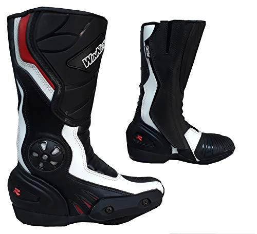 Stivali Stivaletti in Pelle per Moto o minimoto con Protezioni Donna o Bambino (32 EU)