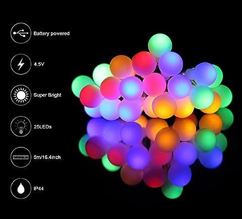 ISIYINER Lichterketten, 5m 25 LED Acryl-Kunststoff-Kugel, Batteriebetrieben , Lichterketten Marokkanische Kugeln Weihnachtsschnur feenhafte Licht für Garten / Terrasse / Home / Hochzeit / Weihnachten / Partei