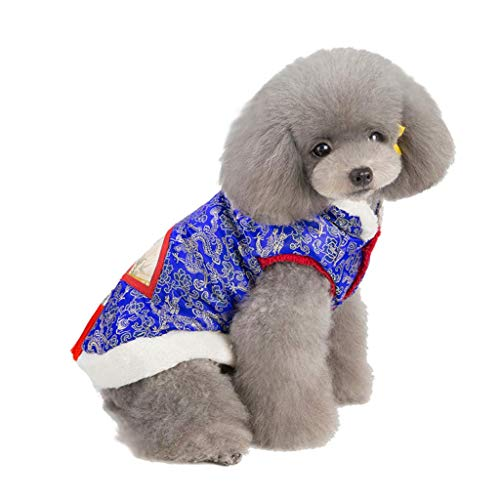 (JSMeet Chinese Style Tang Suit Dog Clothes for New Year''s Eve Puppy Costume Apparel Clothes (Blue))