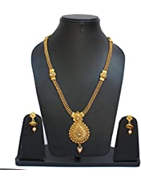Lucky Jewellery Designer Golden Color Copper Gold Plated Necklace With Earring For Girls & Women