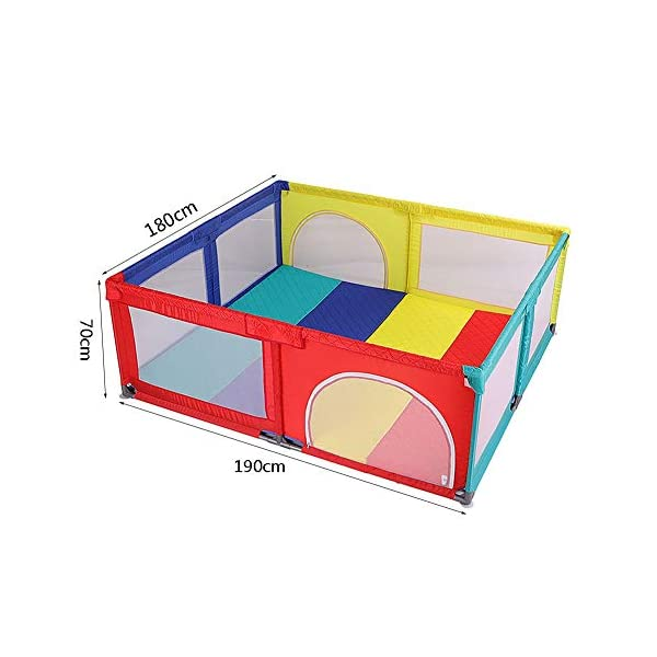 Playpen Portable Baby Toddler Security Fence with Crawling Mat, Can Be Used on The Bed, High 70cm- Multicolor (Size Optional) (Size : 180x190cm) Playpen  2