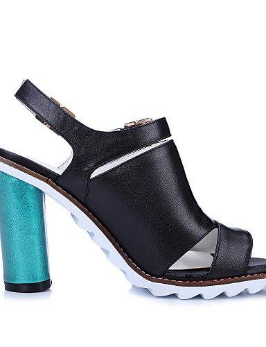 UWSZZ IL Sandali eleganti comfort Scarpe Donna-Sandali-Casual-Spuntate / Con cinghia-A stiletto-Pelle-Nero / Viola Purple