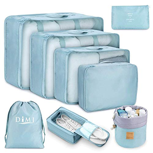 Koffer Organizer Set 8-teilig, kleidertaschen für Kleidung Kosmetik Schuhbeutel Kabel Aufbewahrungstasche, Reisen Organizer Tasche Blau (Blau)