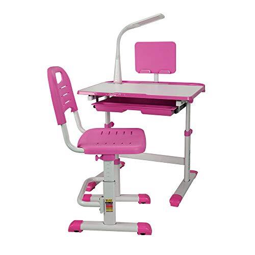RANZIX Mesa de Escritorio Infantil ergonómica con Silla y cajón, Escritorio para niños y Estudiantes, Juego con lámpara LED, Altura Regulable