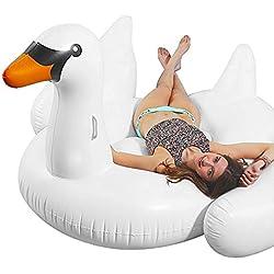 Novelty Place Flotador Cisne Inflable Gigante de Piscina, Juegos para Montar en Balsa Fiesta en la Piscina al Aire Libre Verano 190 x 190 Centímetros
