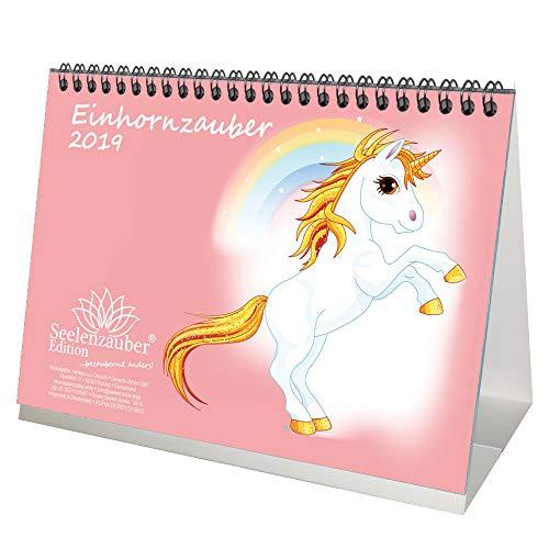 Einhornzauber · DIN A5 · Premium Tischkalender/Kalender 2019 · Einhorn · Fantasie · Pferde · Fohlen · Hengst · Stute · Unicorn · Set: 1 Grußkarte, 1 Weihnachtskarte · Edition Seelenzauber -