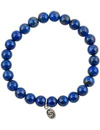 Semi-precioso Pulsera Elástica con Etiqueta de Plata Esterlina 925: Azul: Lapislázuli, Apatito, Cianita, 6-8 mm Piedras, S/M/L/XL/XXL, Hecho a Mano, APOCCAS AGNI