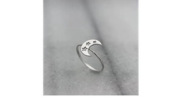 Thin Solid Gold Band Gift For Her Romantic//code: 0.001 Small Crescent Moon with Stars 9k 14k 18k White Gold Ring