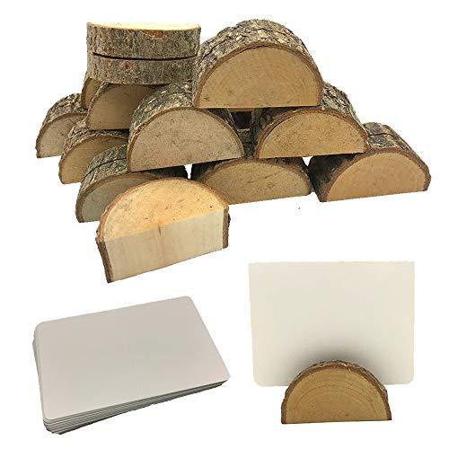 Aisamco 20 Holz Holzsteg Kartenhalter Platzkarte Tischkartenhalter Namesschild Fotohalter,30 Stück Naturkarton Blanko Kraftpapier Kraftkarton Tischkarten für Hochzeit Deko